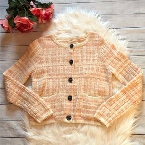 Anthro Knitted & Knotted Pink Striped Cardigan